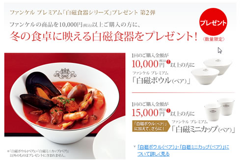 ファンケル 1万円以上の購入で白磁食器をプレゼント