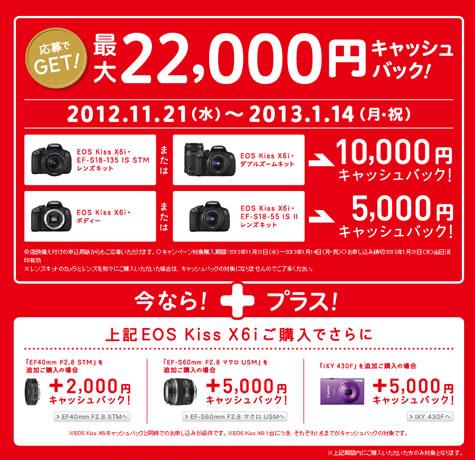 キャノン EOS Kiss X6iが最大22000円キャッシュバック 2012年