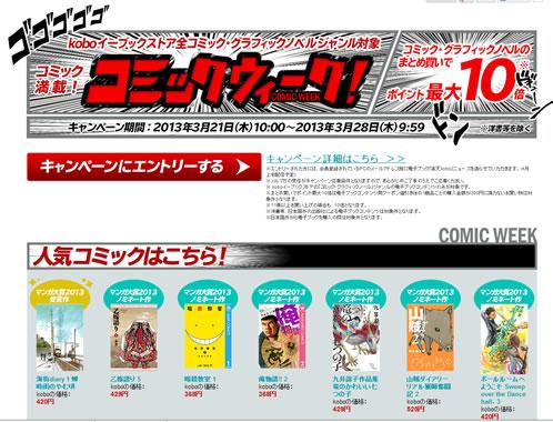 楽天koboでポイント最大10倍 2013年3月