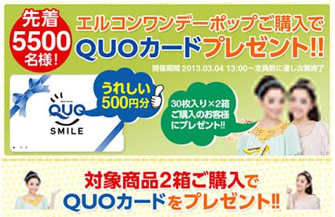 レンズアップルで先着5500名にQUOカード 2013年2月