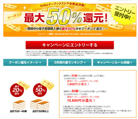 楽天koboが最大50%をクーポンで還元 2013年4月