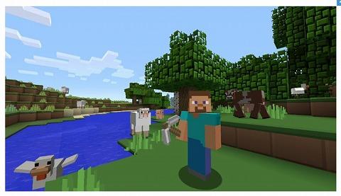 Minecrafのゲーム画面
