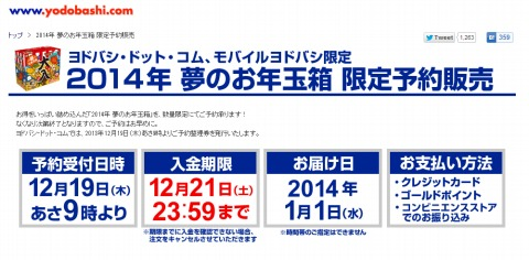 ヨドバシ.com 2014年のお年玉箱を19日午前9時販売