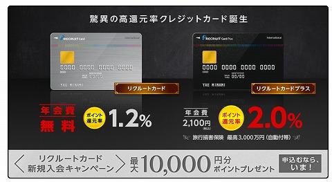 リクルートカード作成で1万円分のポイントプレゼント