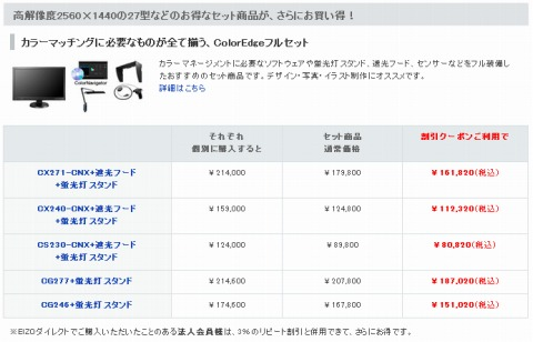ColorEdgeのセット商品の価格紹介