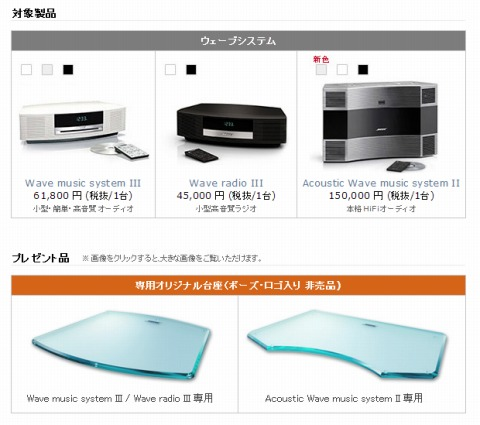 BOSE Wave systems購入者へのプレゼントは30日まで
