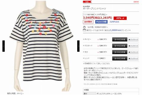 ボーダープリントTシャツの写真