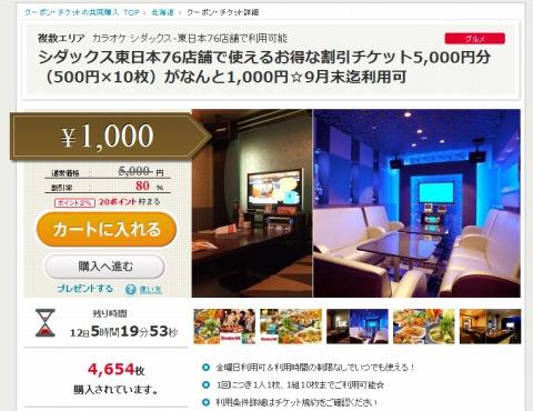 シダックスで使える5000円チケットを1000円で販売