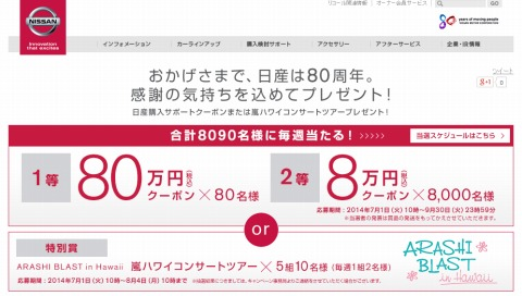 日産 80名名に80万円分の購入サポートクーポン