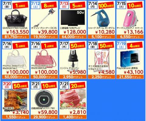販売予定商品の一覧