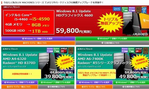 デスクトップパソコンのグレードアップ例