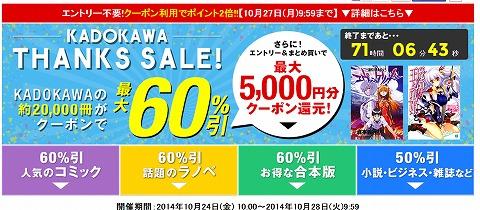 楽天kobo KADOKAWA本の60%クーポン