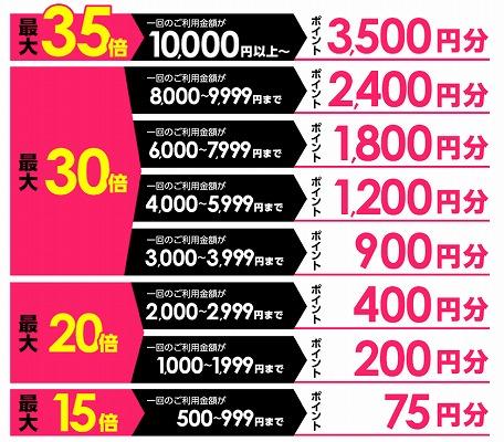 購入額とポイントの率