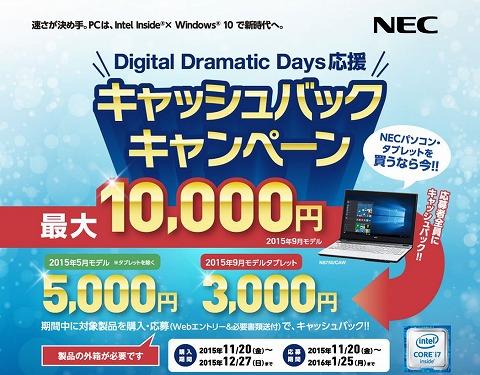 NECダイレクト 最大1万円キャッシュバック