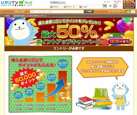 ひかりTVブック 最大50%ポイントがもらえる!