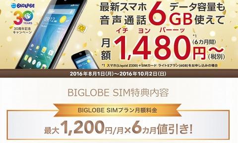 BIGLOBE 30周年記念キャンペーンでSIMのライトSプラン(6GB)が割引