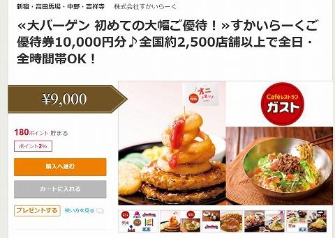 ポンパレ すかいらーくご優待券1万円分が9000円で販売