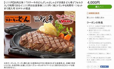 ステーキのどんの5000円食事券が4000円で販売