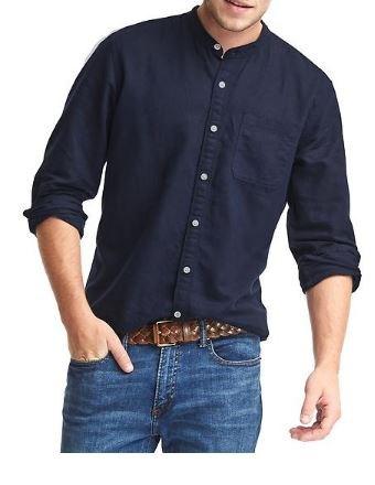 バンドカラーリネンコットンTシャツの画像