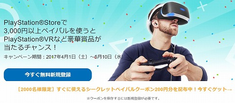 PayPal PlayStaionStoreの決済でPSVRが当たる